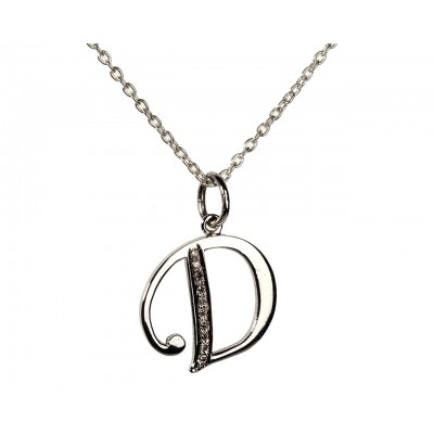 Alphabet D pendant with diamonds
